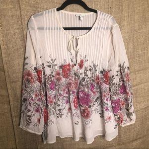 Joie Silk Top L Floral Print Long Sleeve Tan Shirt